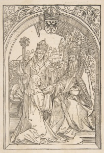 An woodcut of Hroswitha of Gandersheim presenting her work, credited to Durer